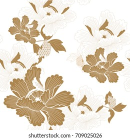 Japanese floral pattern seamless vector in traditional flower graphic style background for backdrop, template, cover page design , fabric, textile.