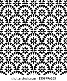 Japanese floral vector seamless pattern. Abstract round elements repiating texture design.