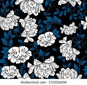 Japanese Flower Petal Ivy Vector Seamless Pattern