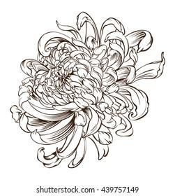 Japanese flower Tattoo chrysanthemum flower blossoms