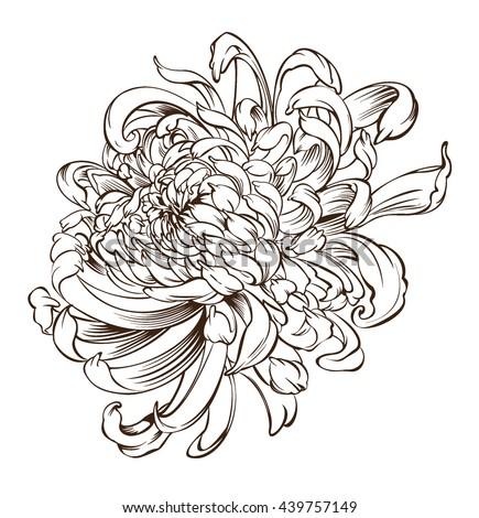 Japanese Flower Tattoo Chrysanthemum Flower Blossoms Stockvector