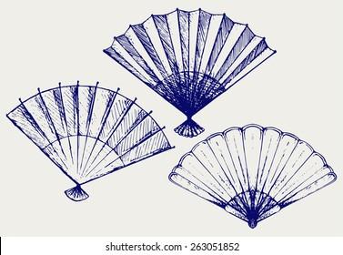 Japanese folding fan. Doodle style