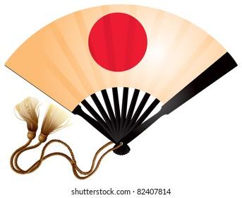 Japanese folding fan ogi with the rising sun, an accessory of the Samurai clothes