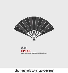 Japanese folding fan vector icon. Black silhouette.