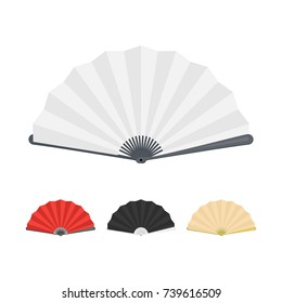 Japanese Folding Paper Fan Color Set Isolated on White Background Web Concept Design. Vector illustration of Accessory Symbol of Japan