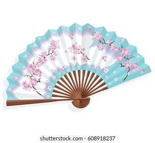 Japanese folding paper sansu fan. The fan is blue and white with a pattern of cherry blossoms. National traditional Japanese souvenirs, symbols, amulets and accessories. Vector illustration.
