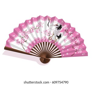 Japanese folding paper sansu fan. The fan is pink and white with a cherry blossoms and two cranes . National traditional Japanese souvenirs, symbols, amulets and accessories. Vector illustration.