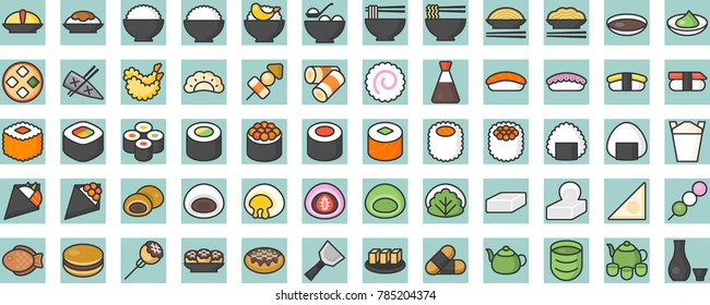 japanese food and beverage filled line icon, sushi, yakisoba, takoyaki, onigiri, green tea, sake, dorayaki, mochi, rice ball, miso soup, tofu, oden, dango, taiyaki, tempura, ramen, rice bowl, gyoza