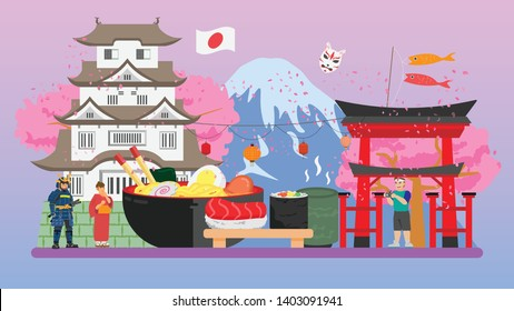 Japanese Food With Cultural Tiny People Concept Vector Illustration, Suitable For Wallpaper, Banner, Children Book, Background, And Web Landing-Page, Vector
