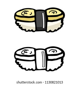 japanese food eggroll, rice and seaweed, sushi cartoon object, vector doodle art