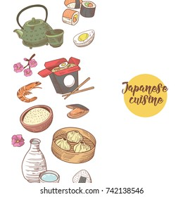Japanese Food Hand Drawn Background. Japan Traditional Cuisine. Sushi Bar Menu. Vector illustration