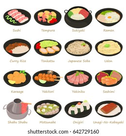 Japanese food icons set. Cartoon illustration of 16 japanese food vector icons for web