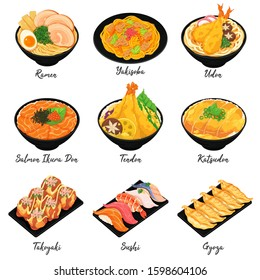Japanese food illustration. (Ramen, Yakisoba, Udon, Salmon Ikura Don, Tendon, Katsudon, Takoyaki, Sushi and Gyoza)
