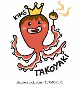 Japanese food King Takoyaki octopus cartoon vector illustration doodle style