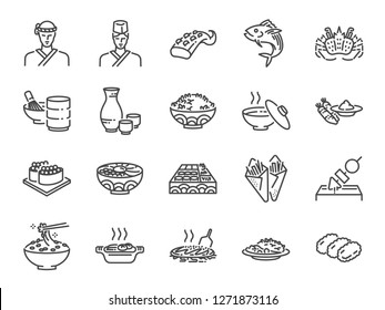 Japanese food line icon set 2. Included the icons as sushi, sashimi, maki, sushi roll, Tonkatsu and more.