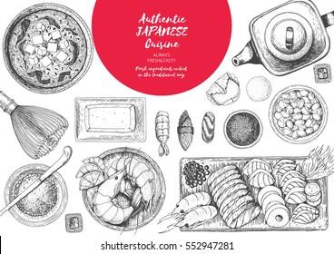 Japanese food menu restaurant. Asian food poster. Vector illustration top view. Japanese food engraved design template