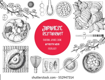 Japanese food menu restaurant. Asian food poster with sashimi, miso soup, oden, natto, matcha tea, and sushi.  Top view frame vector illustration. Japanese food engraved design template