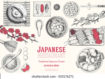 Japanese food menu restaurant. Asian food poster with sashimi, miso soup, oden, natto and sushi.  Top view frame vector illustration. Japanese food engraved design template.
