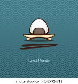 Japanese food. Onigiri on traditional japan ornament. Vector illustration for menu decoration. Logo design.