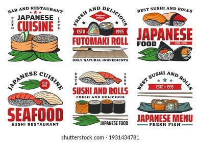Japanese food restaurant retro icons with sushi rolls. Sushi bar meals with salmon or tuna meat and roe, shrimp, cucumber and nori. Gunkanmaki rolls, served on bamboo leaves temaki and nigiri vector