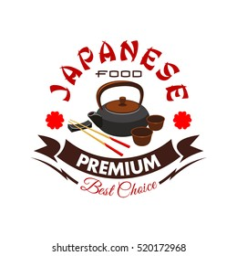 Japanese food restaurant symbol with traditional tea set and chopsticks on rest, decorated by ribbon banner and flower. Oriental cuisine menu badge, tea ceremony sign design