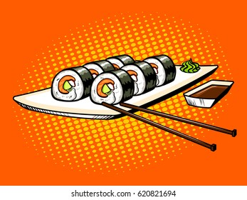 Japanese food rolls pop art hand drawn vector illustration.