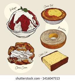 Japanese food, snack. kakigori, choux cream, Bamukuhen, castella cake and cheese tart, hand draw sketch vector.
