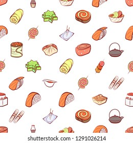 Japanese food and Snacks set. Background for printing, design, web. Usable as icons. Seamless. Colored.