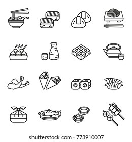 Japanese food Sushi collection Web icon set. Thin Line Style stock vector.