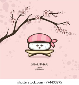 Japanese food. Sushi with shrimp and sakura branch. Vector illustration for menu decoration and logo design.