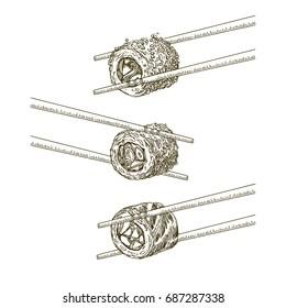Japanese food. Sushi. Three rolls and chopsticks. Set. Engraving. Vector illustration.