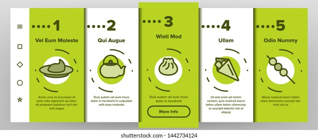 Japanese Food, Sushi Vector Onboarding Mobile App Page Screen. Sushi Bar, Japanese Food Restaurant Thin Line Contour Symbols. Asian Dishes. Nigiri, Nori, Udon, Sashimi and Miso. Seafood Illustrations