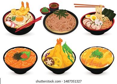 Japanese Food (Udon, Soba, Ramen, Salmon Ikura Don, Katsudon and Tendon)  Illustration vector.