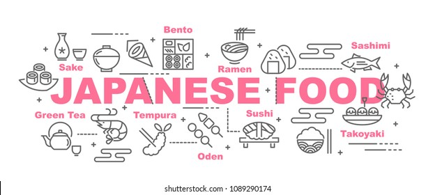japanese food vector banner design concept, flat style with icons