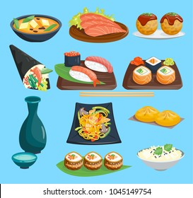 Japanese food vector sushi on plate sashimi roll or nigiri and seafood with rice in Japanese restaurant illustration cuisine with chopsticks Japanization set isolated on background