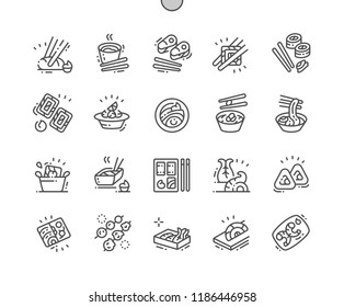 Japanese food Well-crafted Pixel Perfect Vector Thin Line Icons 30 2x Grid for Web Graphics and Apps. Simple Minimal Pictogram
