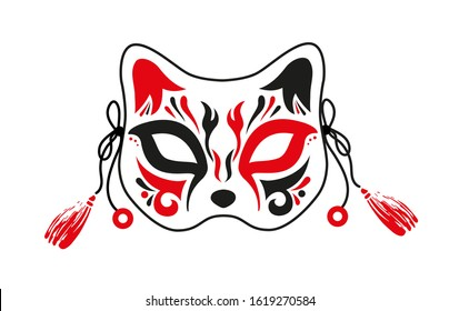 Japanese Fox, face mask, ornamental painting. Red and black paint. Vector image on a white background.