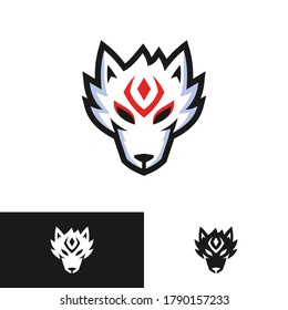 japanese fox kitsune head logo design
