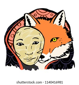 Japanese fox werewolf kitsune with a mask in the paws. Vector Image