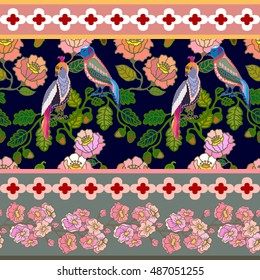 Japanese garden border. Seamless oriental pattern with Victorian motifs. Blooming summer flowers and paradise birds. Vintage textile collection. Colorful on dark blue.