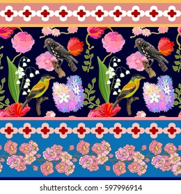 Japanese garden border. Seamless oriental pattern with Victorian motifs. Blooming summer peonies, lilac and poppies, fantasy birds. Vintage textile collection. Colorful on black.