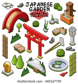 Japanese garden collection, objects for Asian landscape. Isometric vector set