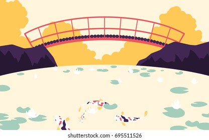 Japanese garden with red bridge across the river with fancy carp and lotus