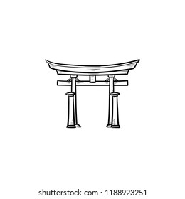 Japanese gate hand drawn outline doodle icon. Torii gate and japanese culture, traditional architecture concept. Vector sketch illustration for print, web, mobile and infographics on white background.