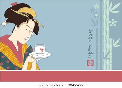 Japanese Geisha - Traditional Art Style Illustration