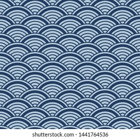Japanese Geometric Wave Seamless Pattern