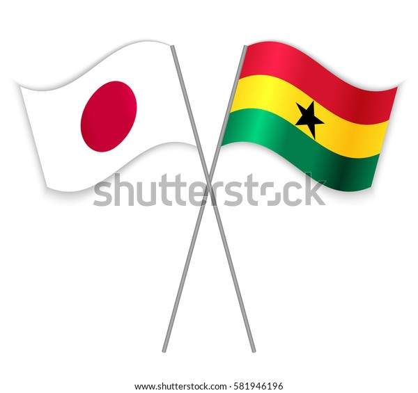 Japanese and Ghanaian crossed flags. Japan combined with Ghana isolated on white. Language learning, international business or travel concept.