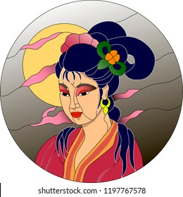 Japanese girl against moon background with pink clouds. Stained glass or mosaic pattern. Can be used as a suncatcher, in cabinet doors, entry doors, window and so on.