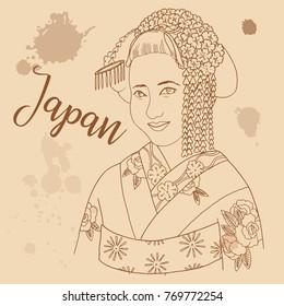 Japanese girl retro style travel poster postcard hand drawn sketch