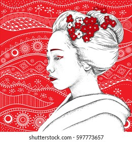 Japanese girl in traditional clothing. Geisha. Vector illustration